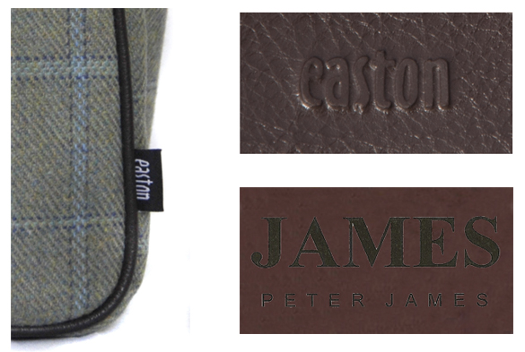 The 'easton' flag label in the seam and the embossed logos you will find inside the genuine bags